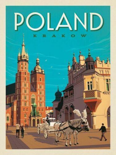 "Krakow Poland Vintage Poster Travel Photo Refrigerator Fridge Magnet 2/""x3/"""
