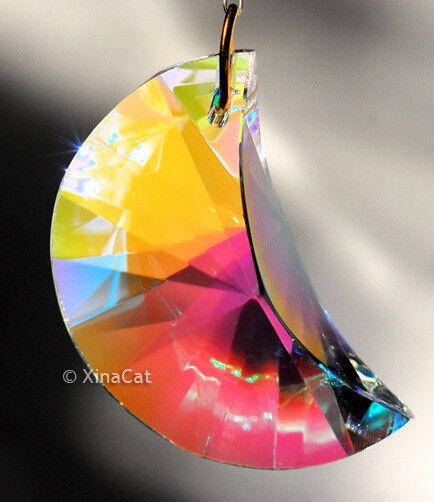 Crescent Moon 40mm Austrian Crystal Clear AB Prism SunCatcher 1-1/2 inch