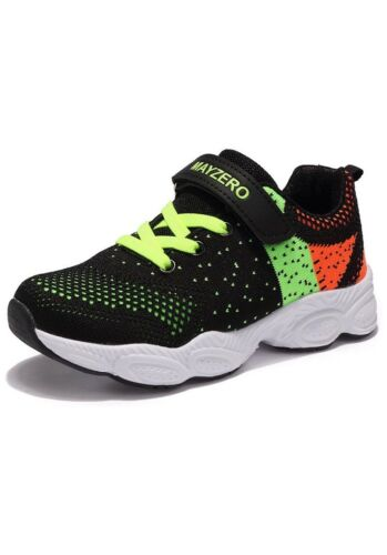 Children's Kids Sport Trainers UK Size 11 EU 29 Black Green And Orange