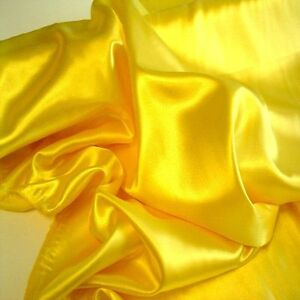 gelber glanz satin stoff kleider stoffe dekostoff gardine vorhang tolko ebay. Black Bedroom Furniture Sets. Home Design Ideas