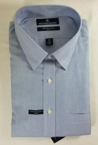 HART SCHAFFNER MARX MEN/'S NON IRON COTTON DRESS SHIRT STRIPED BLUE NWT