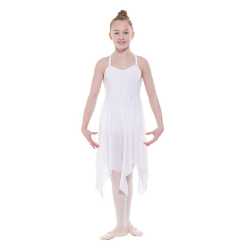 CAMISOLE DOUBLE FRONTED LYRICAL DANCE DRESS WITH A FLOATY SOFT STRETCH NET SKIRT