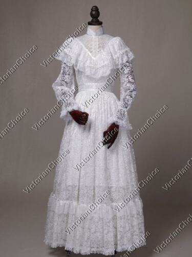 Victorian Plus Size Dresses | Edwardian Clothing, Costumes    White Edwardian Victorian Vintage Lace Wedding Dress Bridal Reenactment N 392 $165.00 AT vintagedancer.com