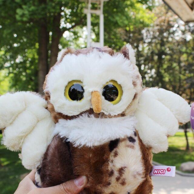 Cute Brown Big Eyed Owl Stuffed Animals Soft Toys Plush Doll 30 Cm