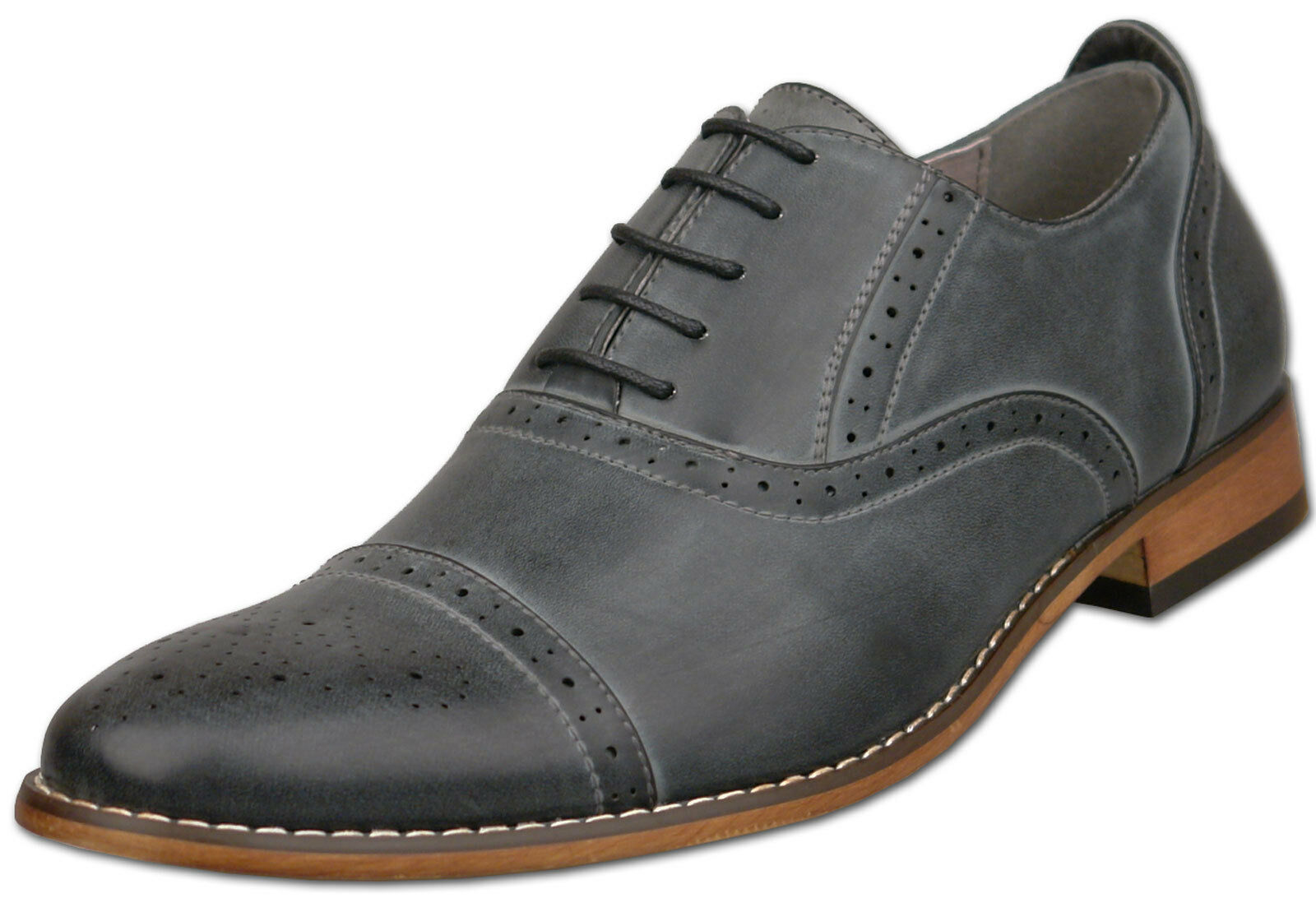 Mens Brand New Grey Leather Lined Capped Brogue Shoes Size 6 7 8 9 10 11 12