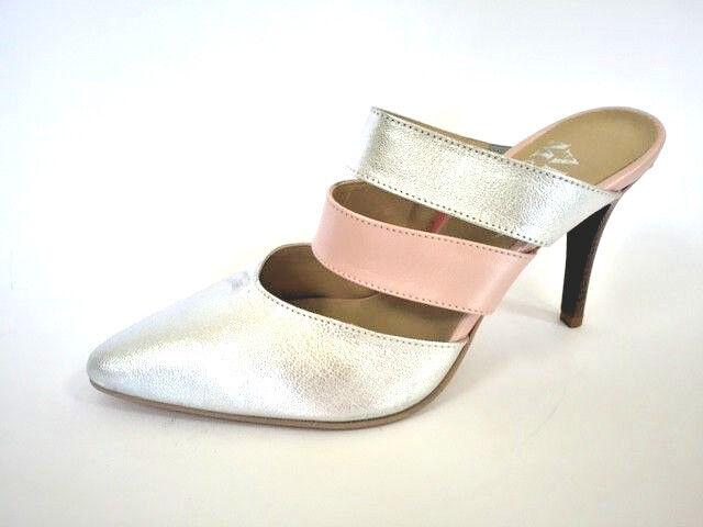 Alba Moda Chaussures Escarpins Mules cuir argent rose taille 38 (5)