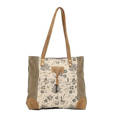 Myra Bag Unique Key Upcycled Canvas Cowhide Tote Bag S 1522 Brown Ebay Adjustable and removable shoulder straps for your convenience. ebay