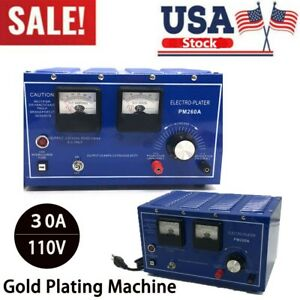 USA Stock 110V 30A Gold Silver Platinum Plating Machine Jewelry Electroplating Plater Rectifier Tools 14K//18K//24K