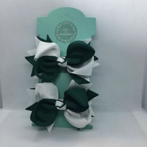 Back To school Girls Hair Bow Pair Accessories Green and White