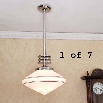 770 Vintage Art Deco Ceiling Lamp Light Fixture Glass Shade Chrome Pendant Nice Ebay