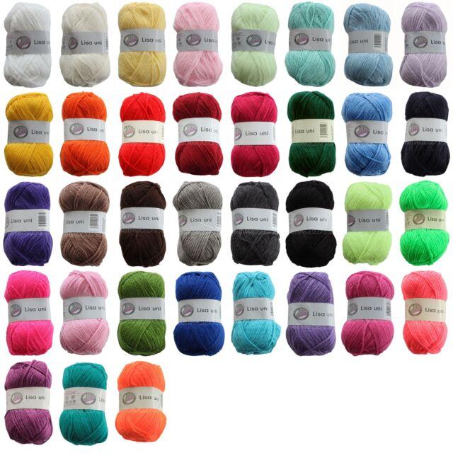 Gründl LISA Uni 50g (20€/kg) Strickgarn Acryl Wolle Polyacryl Handstrickgarn