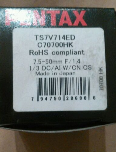 Pentax TS7V714ED CCTV Lens Vari-Focal Auto Iris 7.5-50mm
