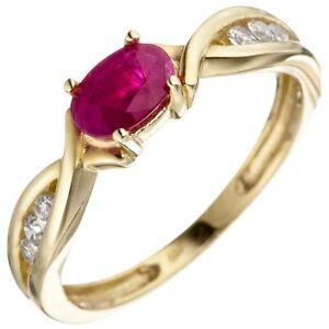 Ring-Damenring-Rubinring-roter-Rubin-in-Olivenform-Zirkonia-333-Gelbgold