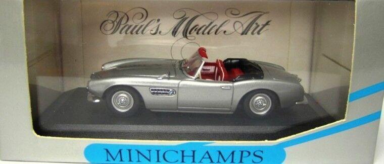 RARE MINICHAMPS BMW 507 cabriolet argent métallisé 1 43 obsolète Comme neuf IN BOX