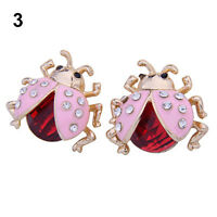 Crystal Rhinestone Ladybug Lady Bug Fashion Earrings Pink & Red