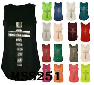 Women-s-Ladies-Gothic-Stud-Cross-Racer-Back-Sleeveless-Stretch-T-Shirt-Vest-Top