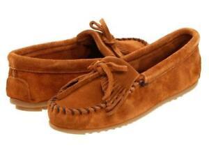 Minnetonka-Women-039-s-402-Brown-Kilty-Suede-Leather-Moccasin-Runs-Large