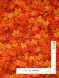 Autumn-Orange-Leaves-Fall-Cotton-Fabric-Timeless-Treasures-C6184-By-The-Yard