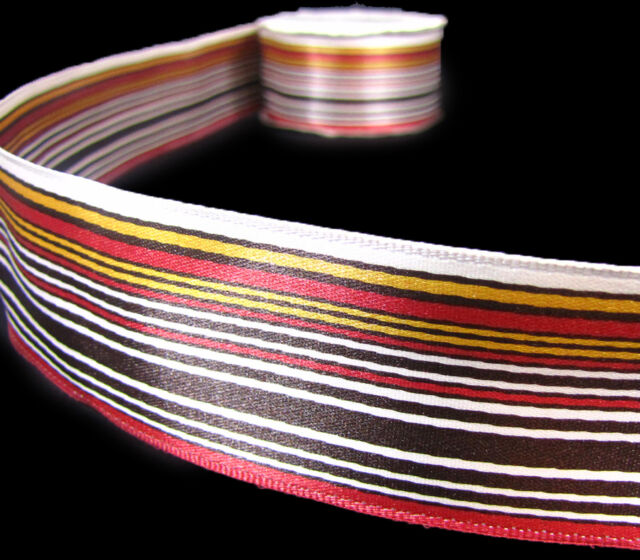 """Blue Pink Brown Stripe Striped Double Faced Satin Ribbon 1 1//2/""""wide"""