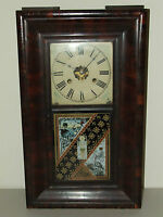 ANTIQUE WORKING 1860s JEROME & CO. OGEE MANTEL CLOCK with WEIGHT DRIVEN MOVEMENT