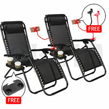 2 Zero Gravity Lounge Beach Chairs+Utility Tray Folding Outdoor Recliner Black