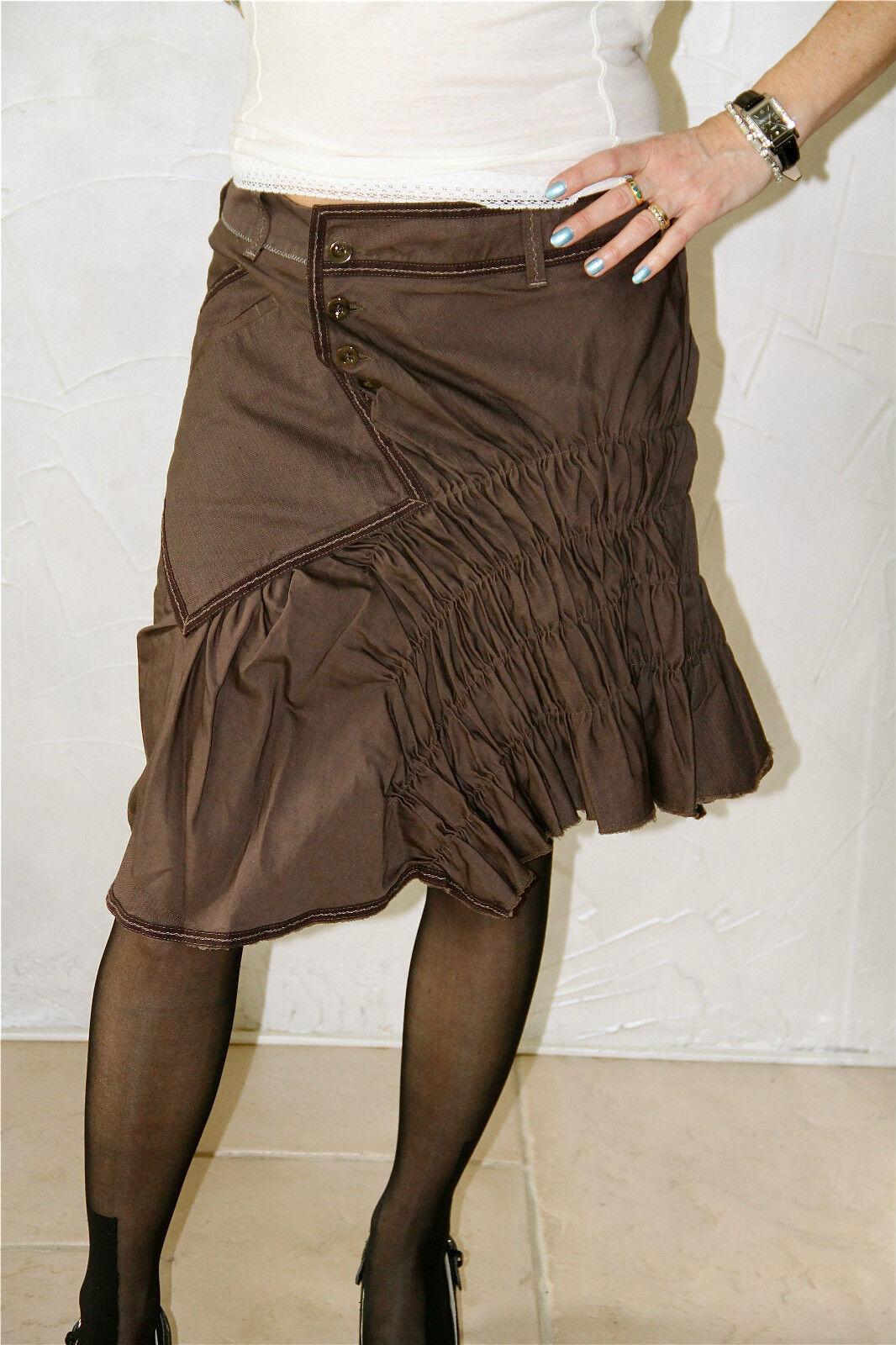 Skirt braun Cotton Linen Printed Marithé François Girbaud S NEW Größe Label