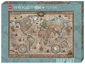 RAJKO ZIGIC - MAP ART : RETRO WORLD - Heye Puzzle 29871 - 1000 Teile Pcs.
