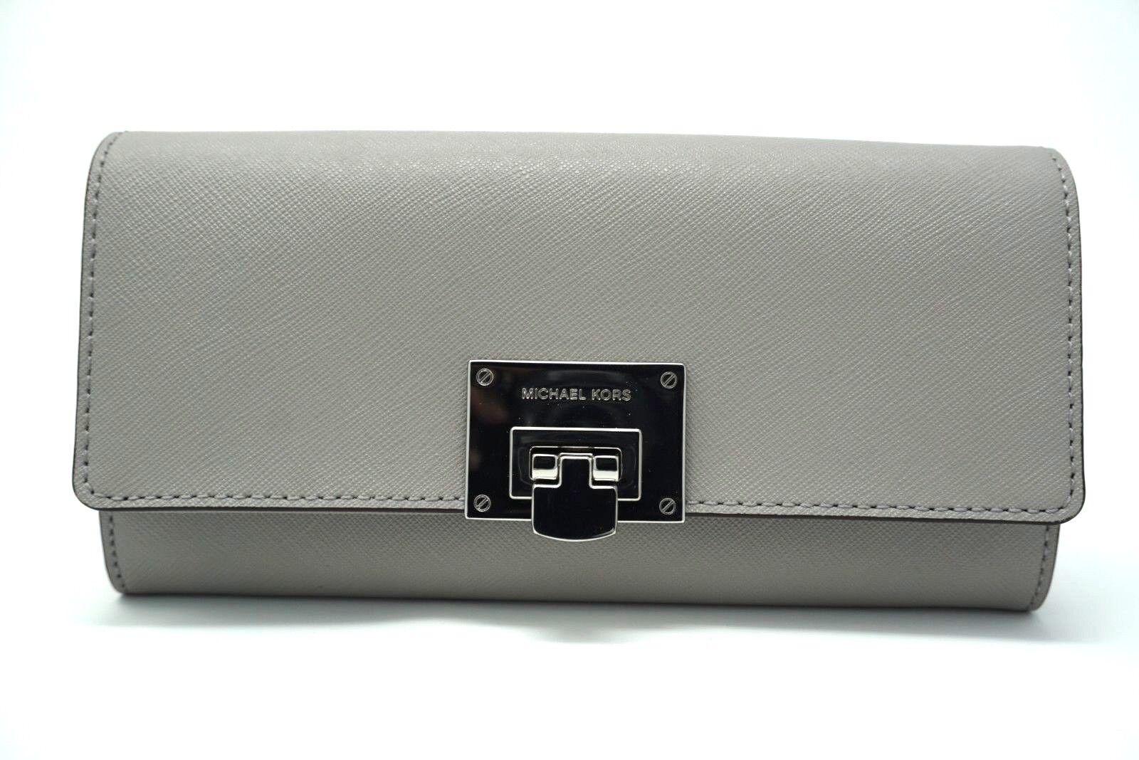 e2cbc7784eb0 Michael Kors Tina Carryall Ash Grey Saffiano Leather Clutch Wallet ...