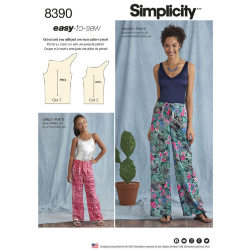 S8390 Simplicity Sewing Pattern 8390 MIsses/' Girls/' Tie Front Pants EASY to SEW