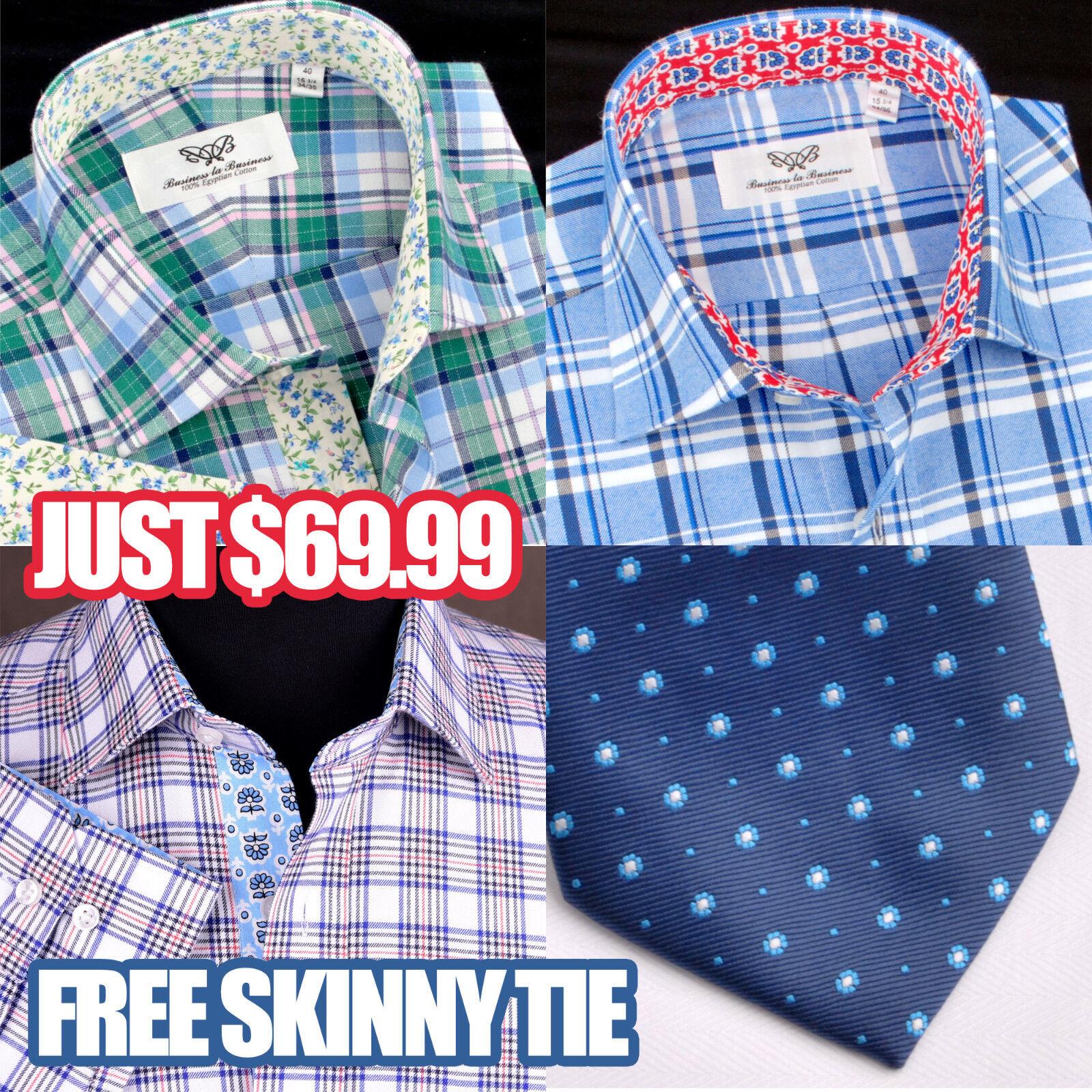 3x Luxury Casual Dress Shirts Luxury Stylish Flannel Hot Design Free Skinny Tie