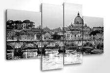 Quadro Moderno 4 pz.  ROMA SKYLINE B/N cm 140x95 arredamento stampa su tela