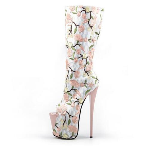 media boda de mujer a Botas peep Flores para pierna Fiesta Plataforma Zapatos Stilettos toe 1wq87gwOx