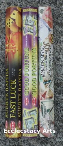 Hem Incense Stick Sampler-Fast Luck-Good Fortune-Money Drawing-Incense 60 Sticks