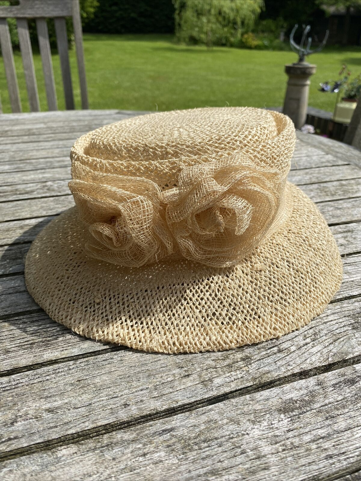 Ladies Straw Hat Band Of Roses Mother Of Bride Wedding Guest Races Pretty