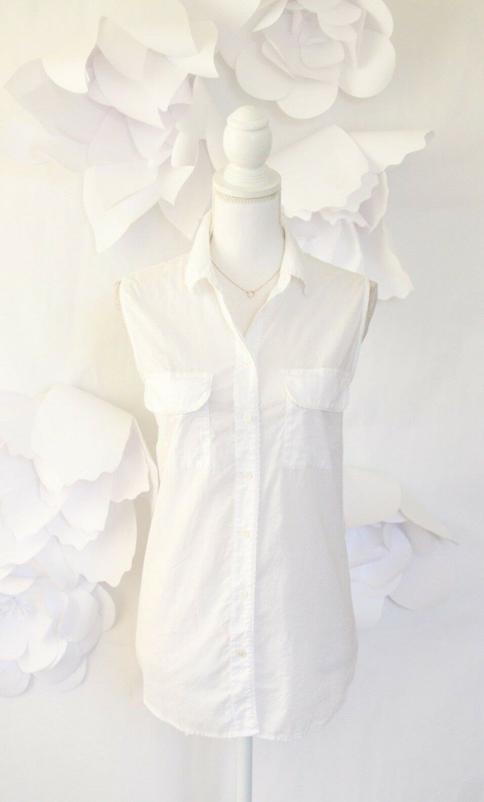 EQUIPMENT Sleeveless Weiß Button Down Shirt Blouse L 100% Lightweight Cotton