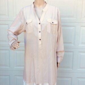 Soft-Surroundings-L-Large-Cotton-Tunic-Top-Cream-Beige-Long-Sleeve-Shirt
