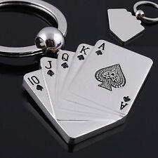 Kreatives Silber Metall Schlüsselanhänger Ring Geschenk Poker Schlüsselanhänger