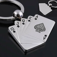Kreatives Silber Metall Schlüsselanhänger Ring Poker Schlüsselanhänger