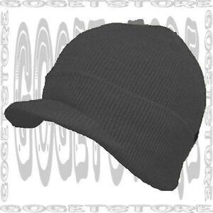 833b0ace Details about Jet Black Watch Skull Cap Beanie Stock Winter Visor New  Toboggan Skully 1 Hat