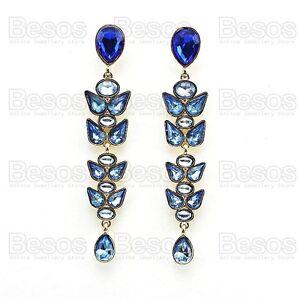 10cm-long-JEWELLED-CHANDELIER-EARRINGS-bold-ROYAL-BLUE-teardrops-GOLD-PLATED-UK