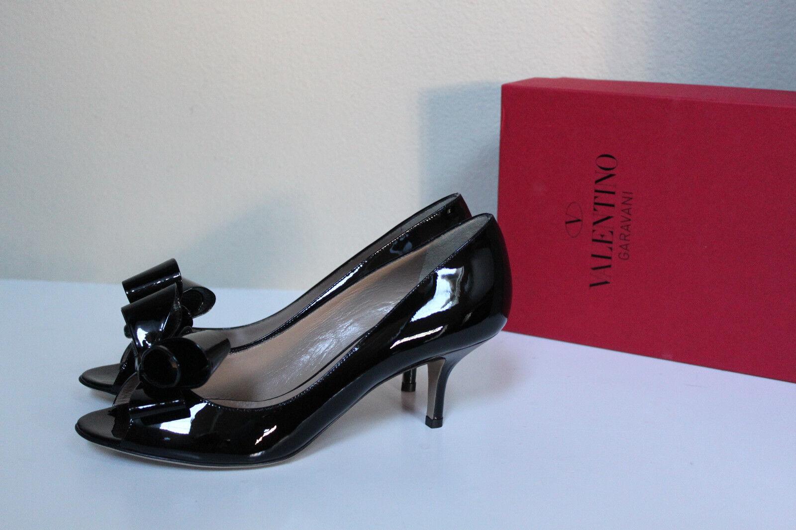 consegna veloce e spedizione gratuita per tutti gli ordini New sz 6.5   36.5 Valentino Couture Bow nero nero nero Patent Leather Peep toe Pump scarpe  compra meglio