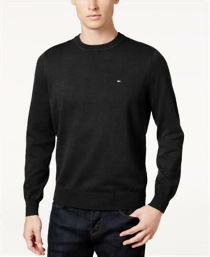 5926c65ca Tommy Hilfiger Signature Solid Crew Neck Sweater Black Mens Small for sale  online | eBay