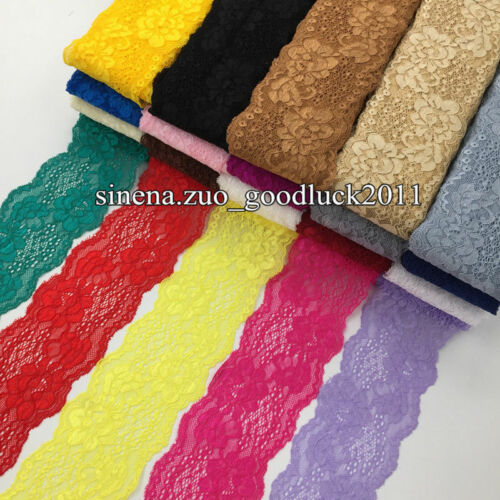 BF158 1 yard Flower Stretch Lace Trim Ribbon Elastic lace Sewing DIY Headband