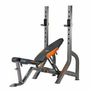York Olympic Barbell Bench Diamond Narrow Stance Folding FID Weight Bench