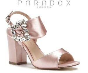 75-PARADOX-London-MANHATTAN-Blush-Satin-Open-Toe-High-Heel-Sandal-Shoe-UK3-EU36