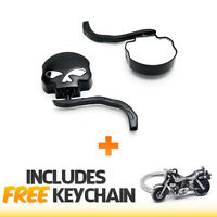 Black Skull & Flames Motorcycle Cruiser Bike Mirrors Adapter+cruiser Keychain on Sale