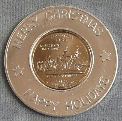 Encased 2000 Virginia State Quarter in Merry Christmas Happy Holidays