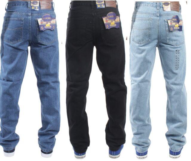 Mens Blue Circle Heavy Duty Regular Fit Denim Jeans Waist Size 28 48 Leg30 32 34