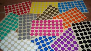 20mm-Stickers-White-Yellow-Red-Orange-Pink-Green-Blue-Purple-Black-Silver-Gold