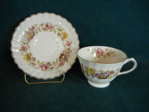 Royal Doulton Multicolored Mayfair H4897 Thin Handle Cup and Saucer Set s